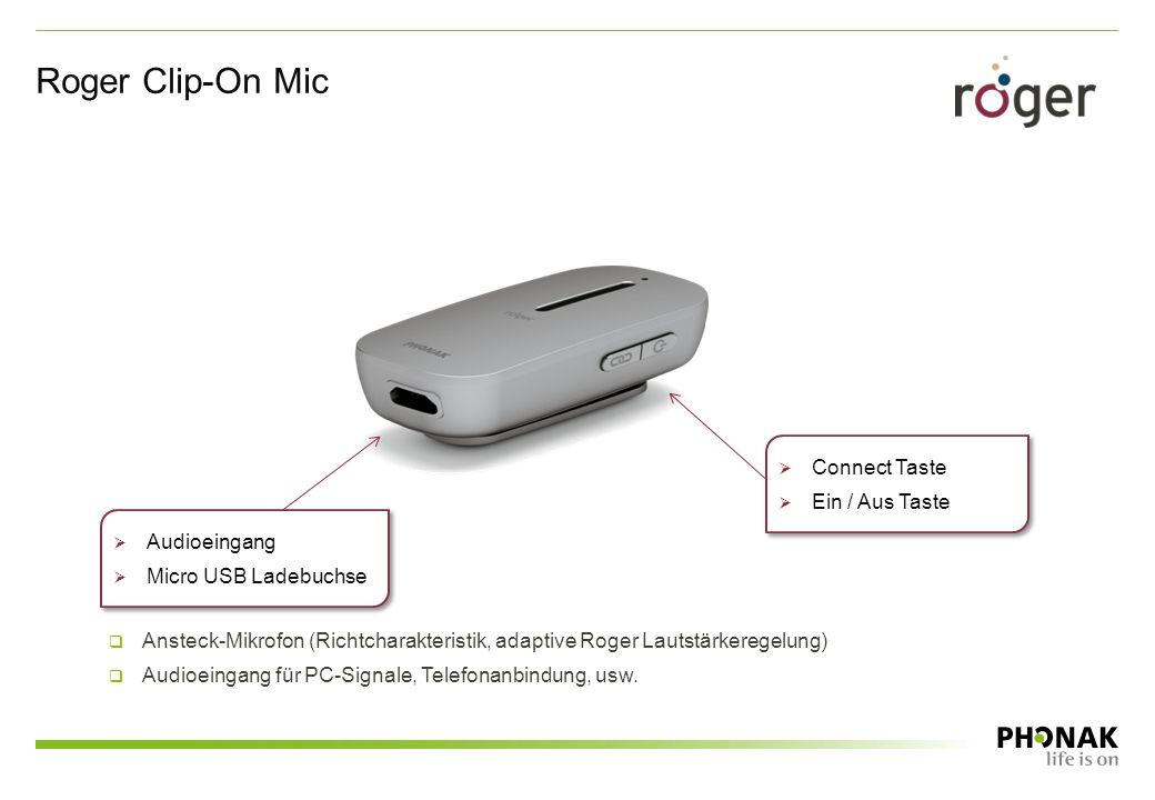  Connect Taste  Ein / Aus Taste  Connect Taste  Ein / Aus Taste  Audioeingang  Micro USB Ladebuchse  Audioeingang  Micro USB Ladebuchse Roger