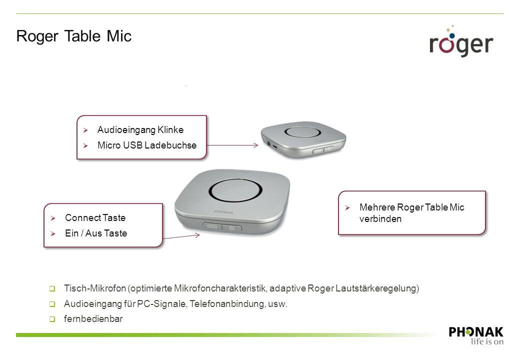 Roger Table Mic  Mehrere Roger Table Mic verbinden  Connect Taste  Ein / Aus Taste  Connect Taste  Ein / Aus Taste  Audioeingang Klinke  Micro