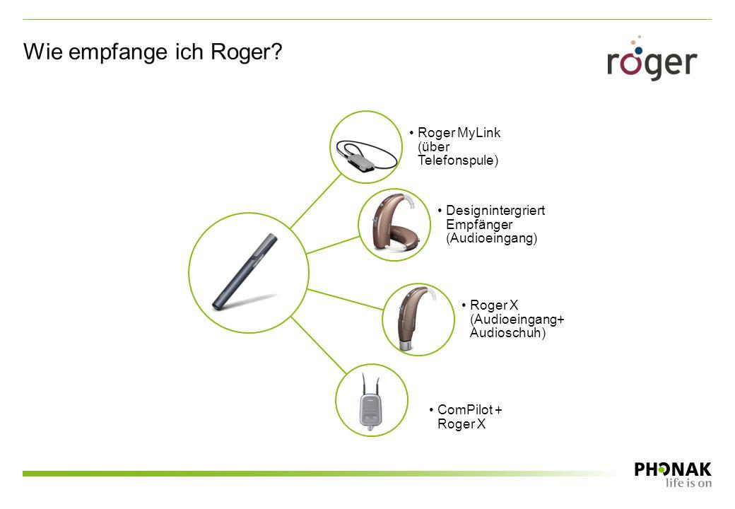 Wie empfange ich Roger? Roger MyLink (über Telefonspule) Designintergriert Empfänger (Audioeingang) Roger X (Audioeingang+ Audioschuh) ComPilot + Roge