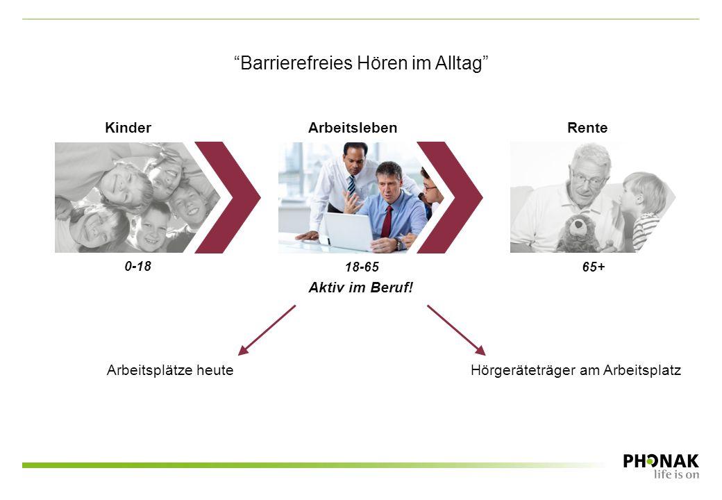 "Arbeitsplätze heute Hörgeräteträger am Arbeitsplatz Kinder Arbeitsleben Rente ""Barrierefreies Hören im Alltag"" 0-18 18-6565+ Aktiv im Beruf!"