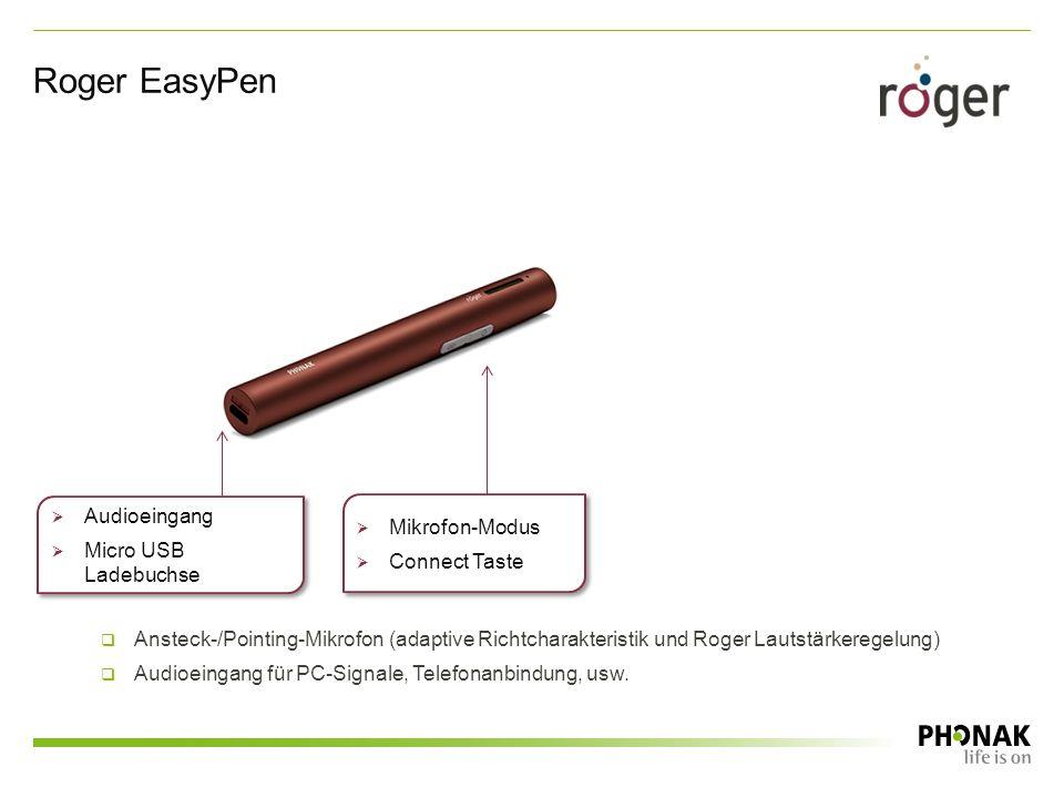 Roger EasyPen  Mikrofon-Modus  Connect Taste  Mikrofon-Modus  Connect Taste  Audioeingang  Micro USB Ladebuchse  Audioeingang  Micro USB Ladebuchse  Ansteck-/Pointing-Mikrofon (adaptive Richtcharakteristik und Roger Lautstärkeregelung)  Audioeingang für PC-Signale, Telefonanbindung, usw.