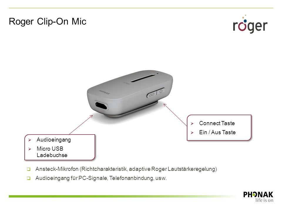  Connect Taste  Ein / Aus Taste  Connect Taste  Ein / Aus Taste  Audioeingang  Micro USB Ladebuchse  Audioeingang  Micro USB Ladebuchse Roger Clip-On Mic  Ansteck-Mikrofon (Richtcharakteristik, adaptive Roger Lautstärkeregelung)  Audioeingang für PC-Signale, Telefonanbindung, usw.