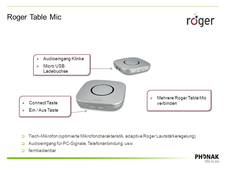 Roger Table Mic  Mehrere Roger Table Mic verbinden  Connect Taste  Ein / Aus Taste  Connect Taste  Ein / Aus Taste  Audioeingang Klinke  Micro