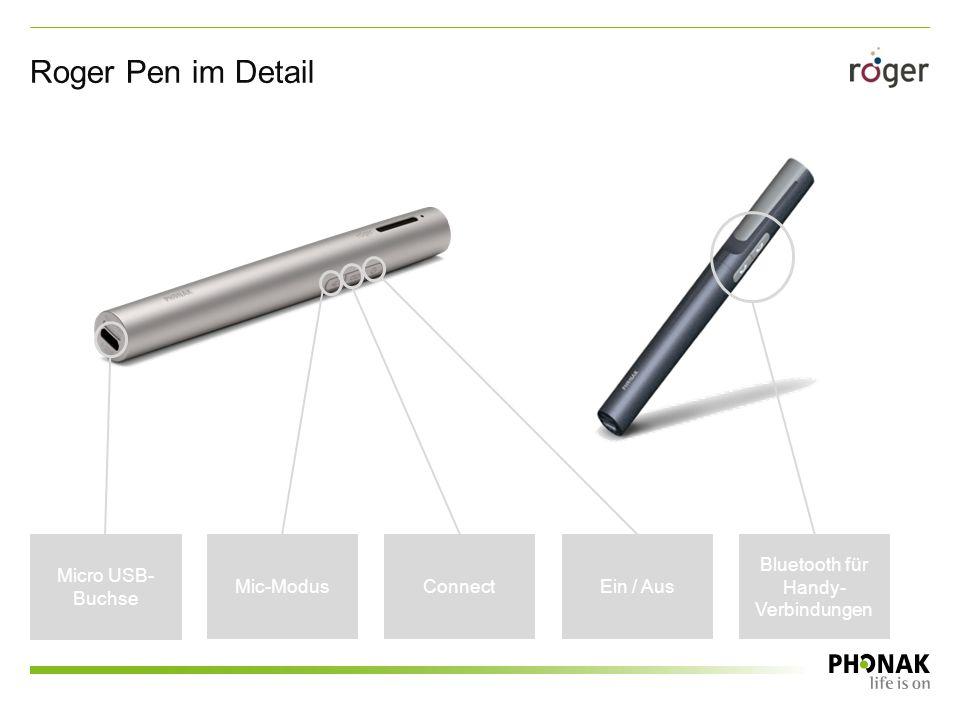 Roger Pen im Detail Ein / Aus Bluetooth für Handy- Verbindungen Mic-ModusConnect Micro USB- Buchse