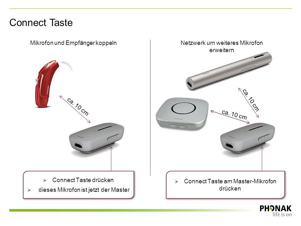 Connect Taste Mikrofon und Empfänger koppelnNetzwerk um weiteres Mikrofon erweitern ca.