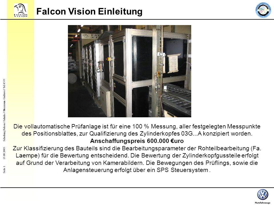 Seite 1 Schulung Falcon / Jahnke / Messraum Gießerei / Tel.4577 17.08.2005 Falcon Vision Einleitung Die vollautomatische Prüfanlage ist für eine 100 % Messung, aller festgelegten Messpunkte des Positionsblattes, zur Qualifizierung des Zylinderkopfes 03G...A konzipiert worden.