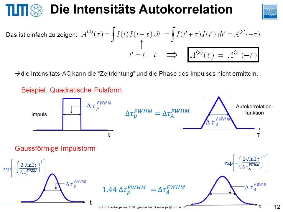 nichtkollineare SHG  durch Veränderung des zeitlichen Abstands beider Impulse ergibt sich das Intensitäts Autokorrelationssignal, A (2) (  ). Intens