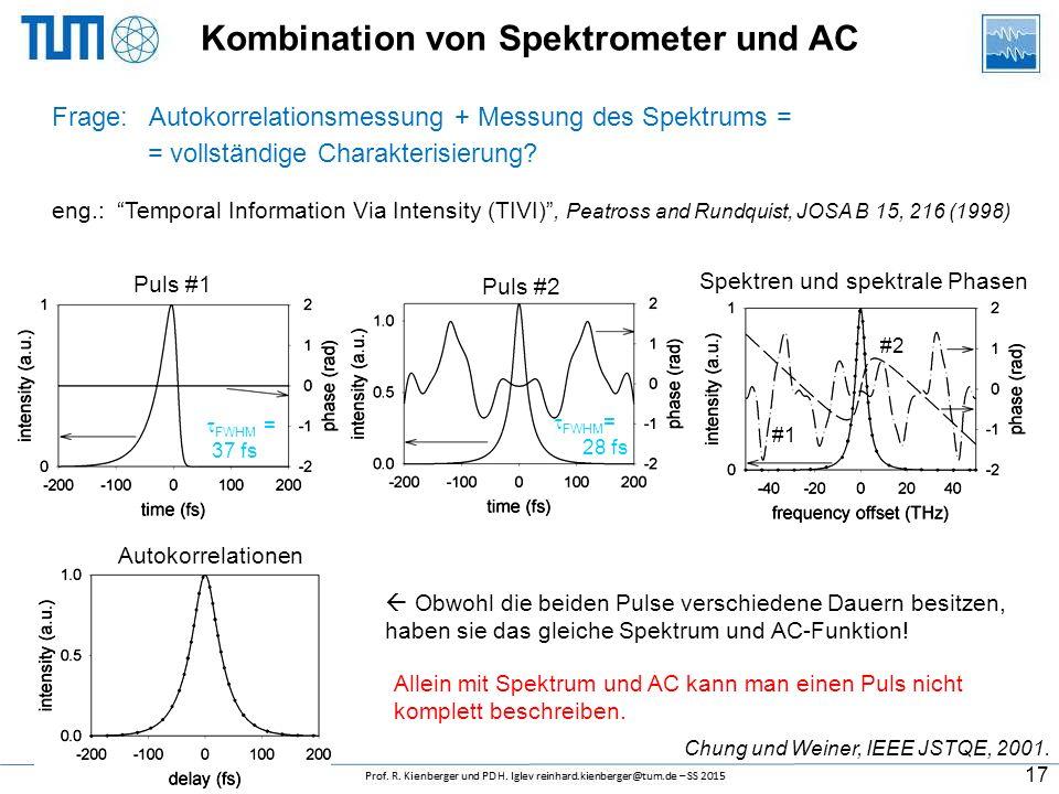 Wichtige Regeln bei AK-Messungen Minimaler Materialdurchgang vor bzw. in dem Autokorrelator ist erwünscht Kleine Konversion-Effizienz um ein Sättigung