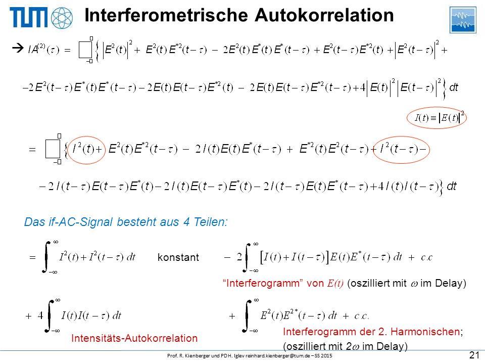 """Interferometrische Autokorrelation kollineare Geometrie + zusätzlicher Filter Entwickelt von J-C Diels Normaler Autokoterm neue Terme Auch genannt """"Fr"""