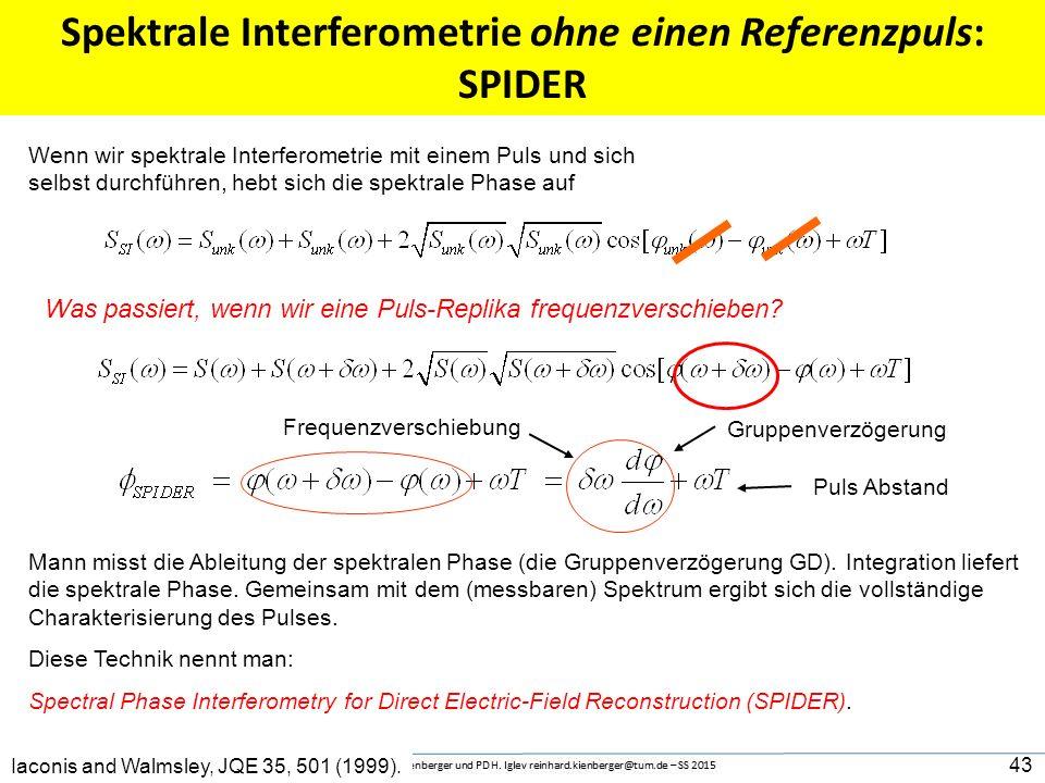 """Bestimmung des Pulses mittels spektraler Interferometrie Interferenz- Streifen im Spektrum 00 Frequenz IFFT 00 Frequenz FFT 0 """"zeit"""" Der """"DC"""" Term"""