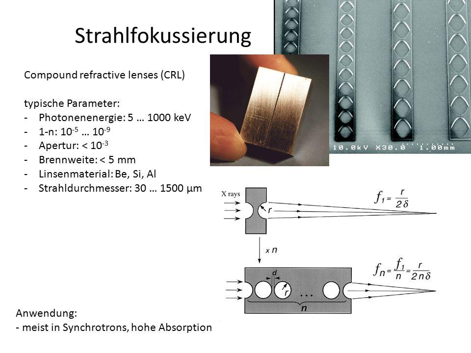 Strahlfokussierung Compound refractive lenses (CRL) typische Parameter: -Photonenenergie: 5 … 1000 keV -1-n: 10 -5 … 10 -9 -Apertur: < 10 -3 -Brennwei