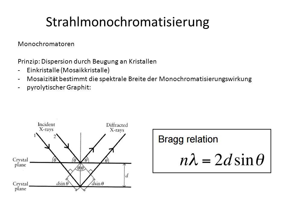 Strahlmonochromatisierung Monochromatoren Prinzip: Dispersion durch Beugung an Kristallen -Einkristalle (Mosaikkristalle) -Mosaizität bestimmt die spe