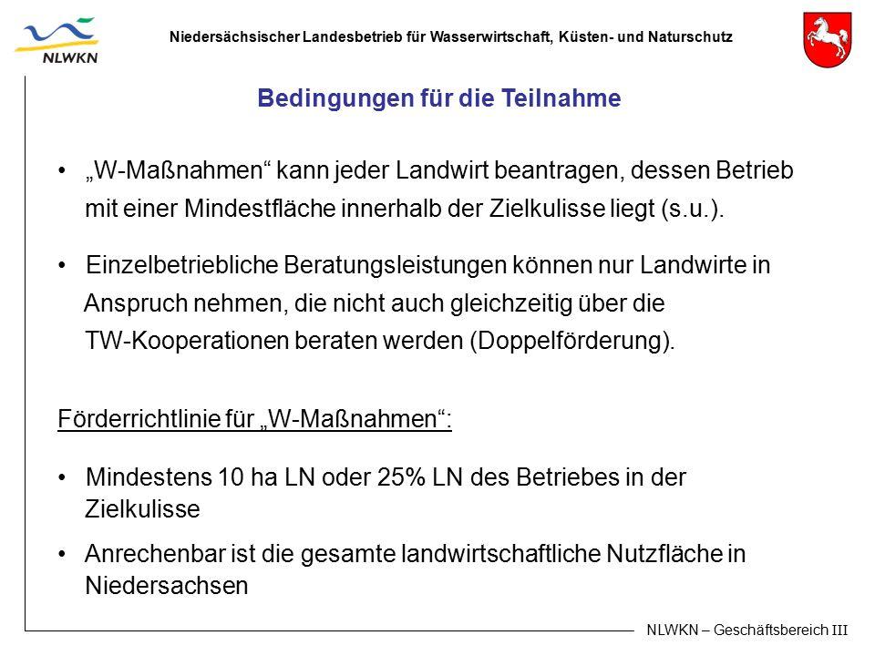 """Niedersächsischer Landesbetrieb für Wasserwirtschaft, Küsten- und Naturschutz NLWKN – Geschäftsbereich III """"W-Maßnahmen"""" kann jeder Landwirt beantrage"""