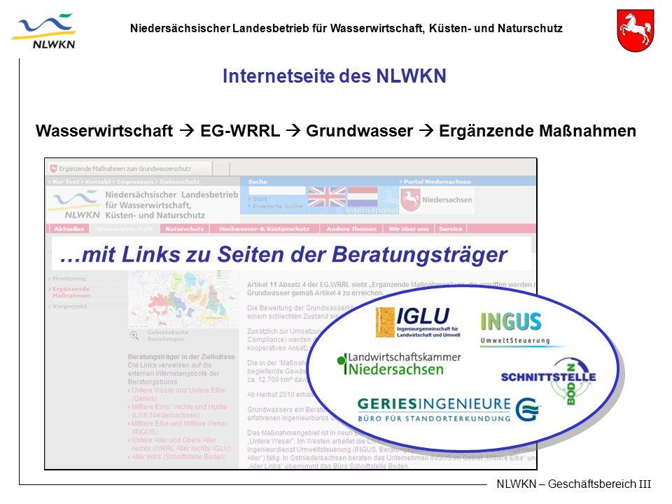 Niedersächsischer Landesbetrieb für Wasserwirtschaft, Küsten- und Naturschutz NLWKN – Geschäftsbereich III Internetseite des NLWKN Wasserwirtschaft 