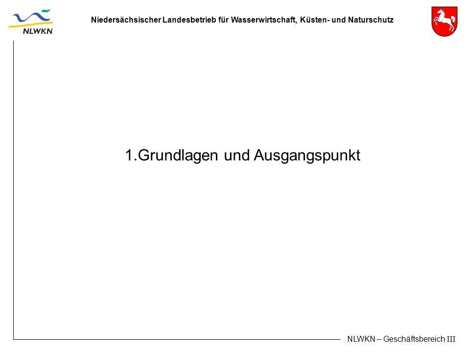 Niedersächsischer Landesbetrieb für Wasserwirtschaft, Küsten- und Naturschutz NLWKN – Geschäftsbereich III 1.Grundlagen und Ausgangspunkt