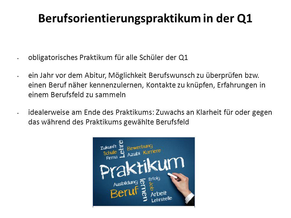 Berufsorientierungspraktikum in der Q1 obligatorisches Praktikum für alle Schüler der Q1 ein Jahr vor dem Abitur, Möglichkeit Berufswunsch zu überprüf
