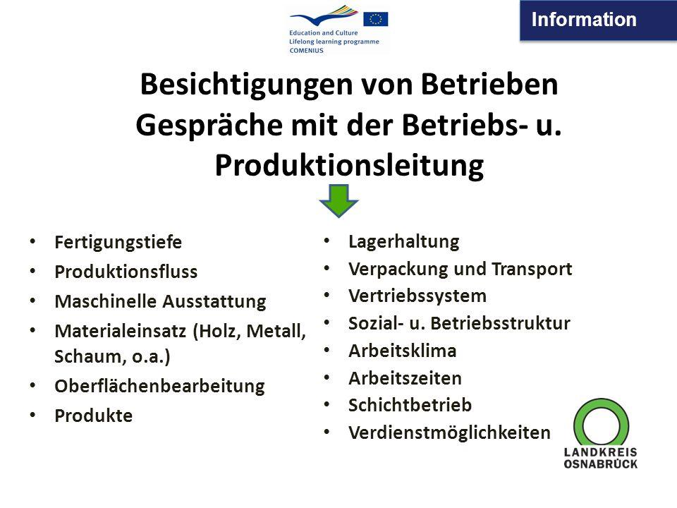 Information Besichtigungen von Betrieben Gespräche mit der Betriebs- u. Produktionsleitung Fertigungstiefe Produktionsfluss Maschinelle Ausstattung Ma