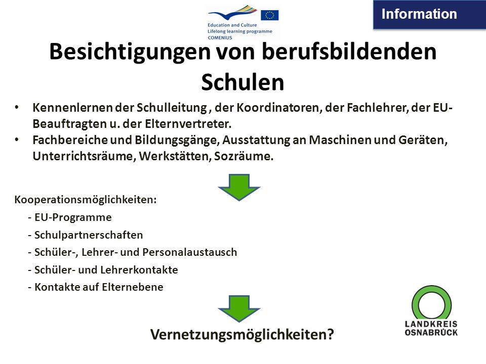 Information Besichtigungen von berufsbildenden Schulen Kooperationsmöglichkeiten: - EU-Programme - Schulpartnerschaften - Schüler-, Lehrer- und Person