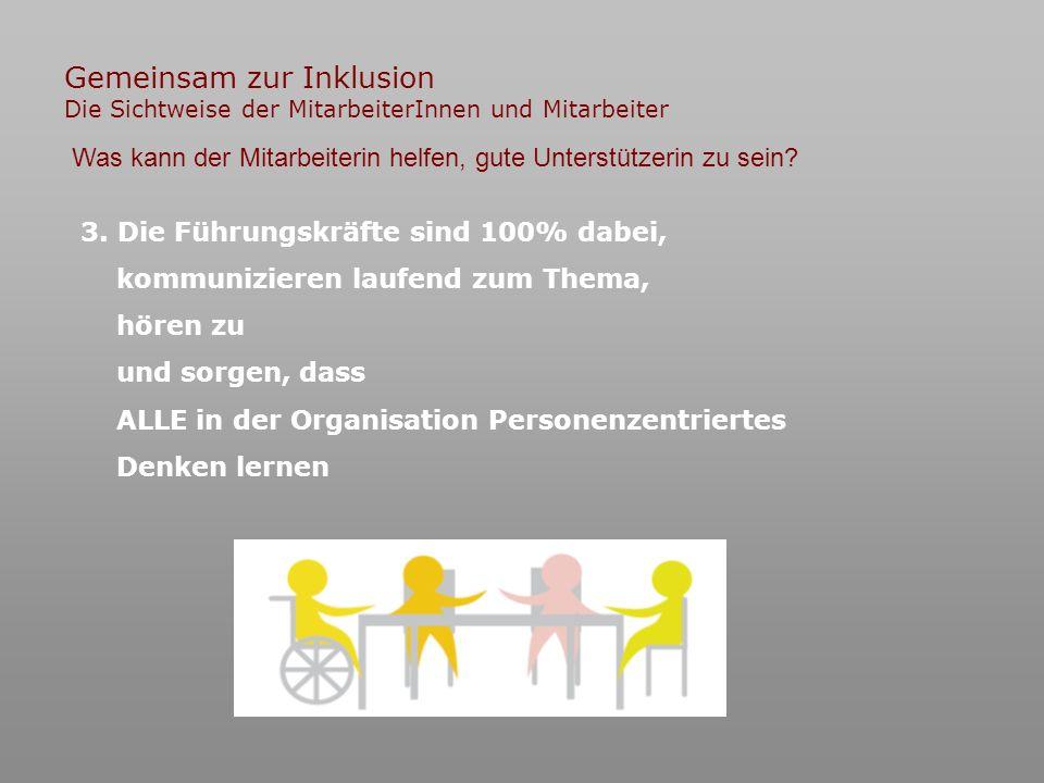 Gemeinsam zur Inklusion Die Sichtweise der MitarbeiterInnen und Mitarbeiter 3.