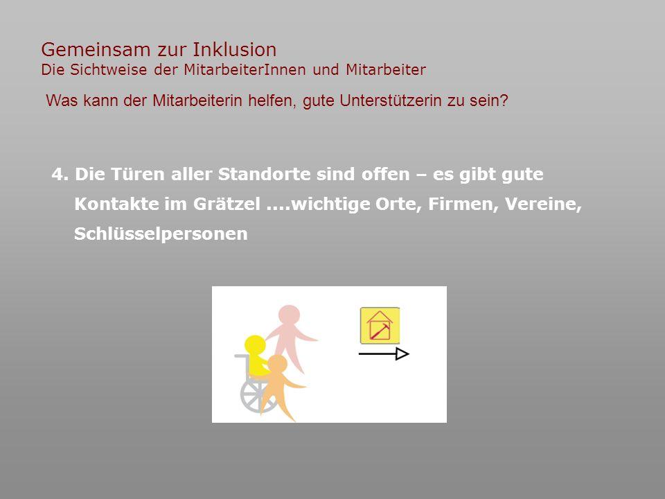Gemeinsam zur Inklusion Die Sichtweise der MitarbeiterInnen und Mitarbeiter 4.