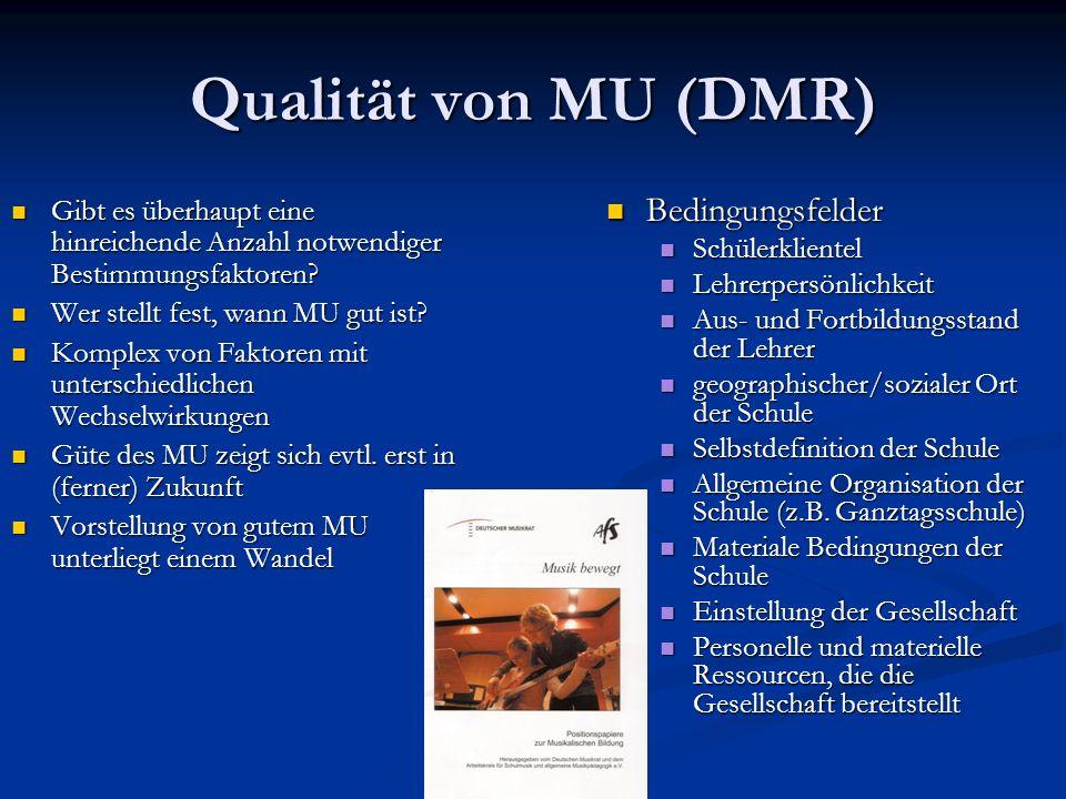 Qualität von MU (DMR) Gibt es überhaupt eine hinreichende Anzahl notwendiger Bestimmungsfaktoren? Gibt es überhaupt eine hinreichende Anzahl notwendig