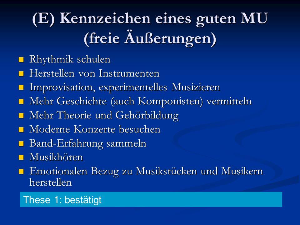 (E) Kennzeichen eines guten MU (freie Äußerungen) Rhythmik schulen Rhythmik schulen Herstellen von Instrumenten Herstellen von Instrumenten Improvisat