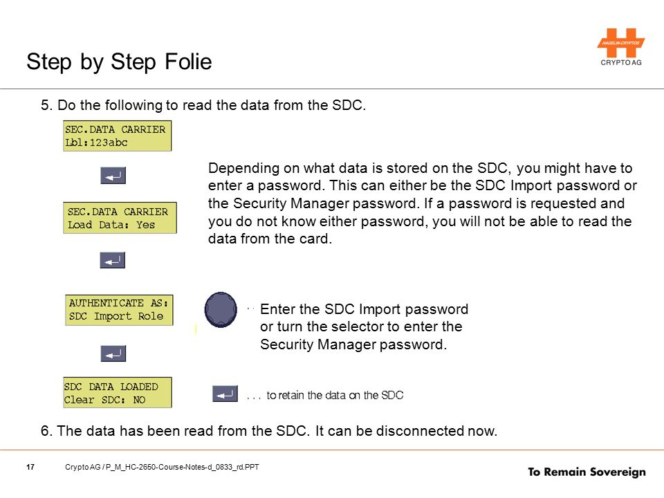17Crypto AG / P_M_HC-2650-Course-Notes-d_0833_rd.PPT Step by Step Folie 5. Do the following to read the data from the SDC. 6. The data has been read f