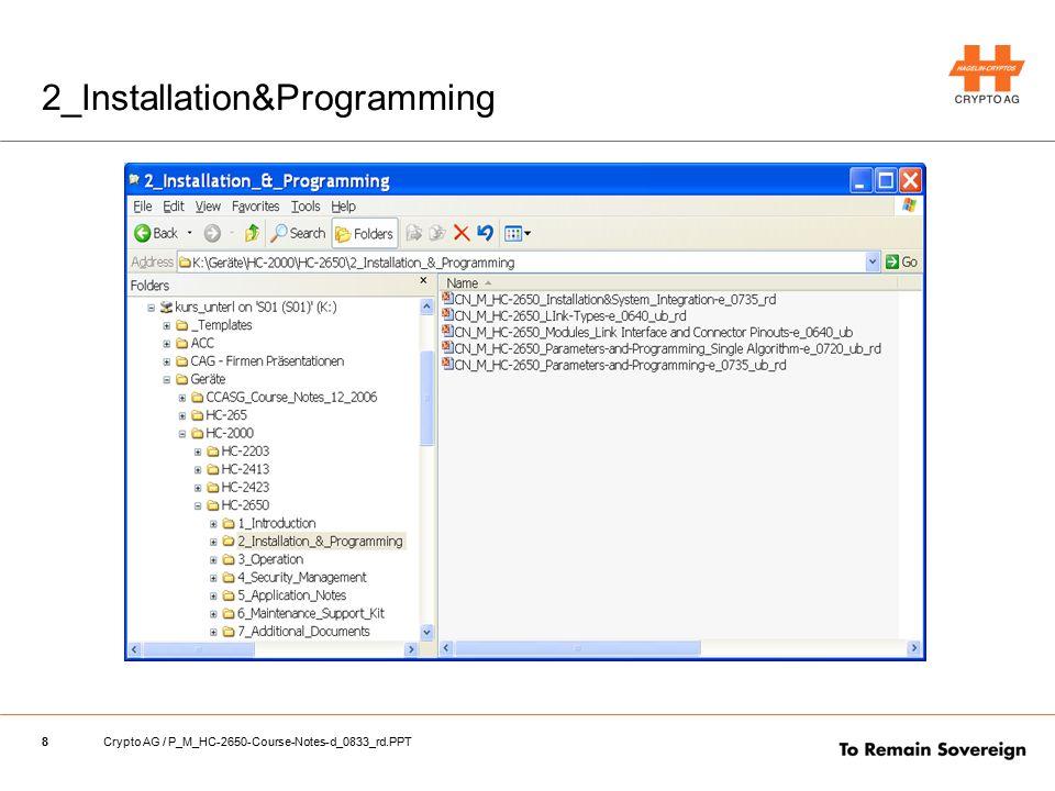 19Crypto AG / P_M_HC-2650-Course-Notes-d_0833_rd.PPT Explanation Slide: Graphisch CSAP Home CMP Home Domains CKs Presets Passwords CSAP Add1 CMP Add1 Domains CKs Presets Passwords Home AlgorithmAdditional Algorithm HC-2650 Configuration parameters
