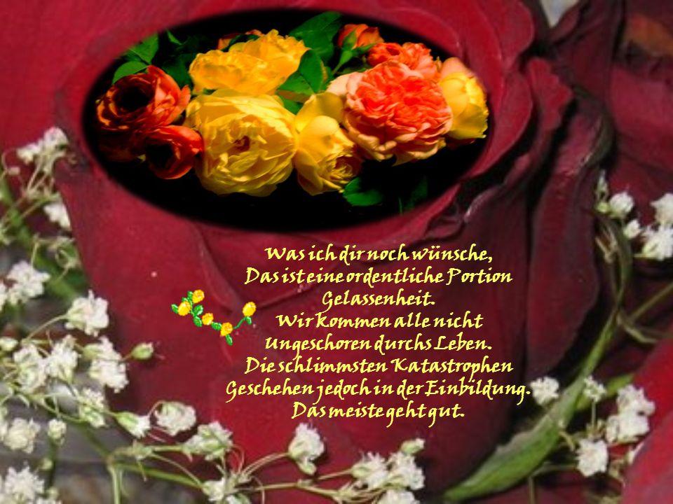 Ich wünsche dir die Zufriedenheit, Die aus der Stille kommt, Aus dem Frieden einer Schönen Landschaft, Aus dem Duft einer Blume, Aus dem Plätschern ei