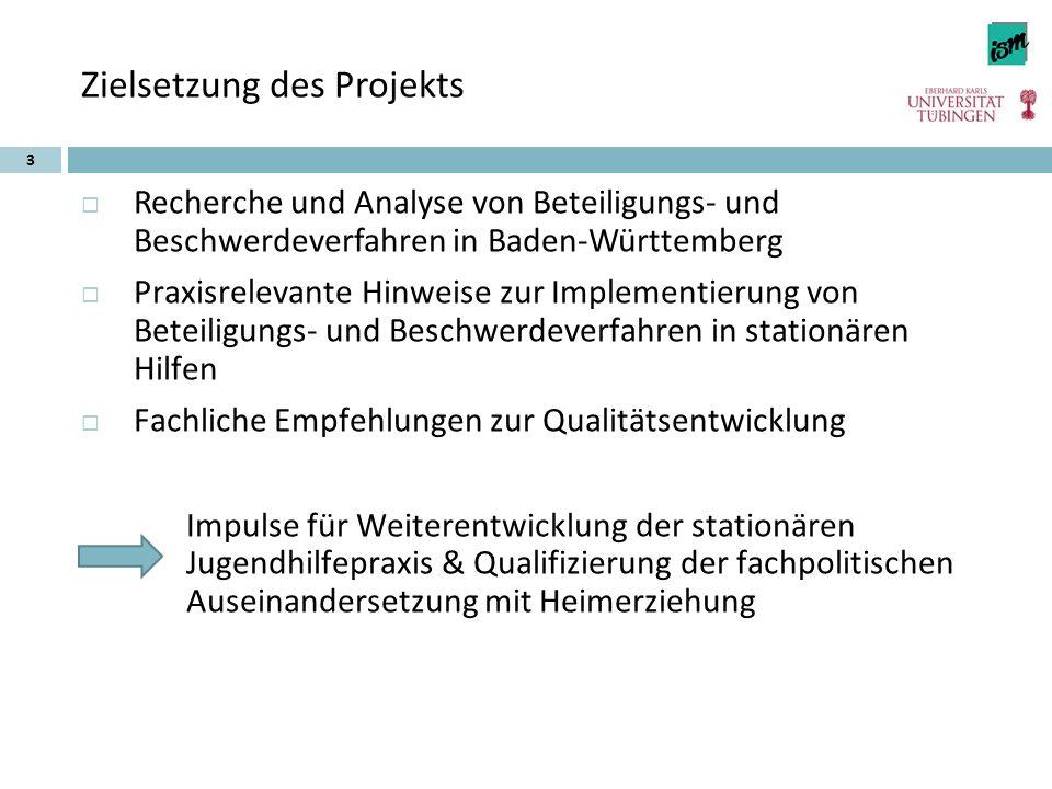 Zielsetzung des Projekts  Recherche und Analyse von Beteiligungs- und Beschwerdeverfahren in Baden-Württemberg  Praxisrelevante Hinweise zur Impleme