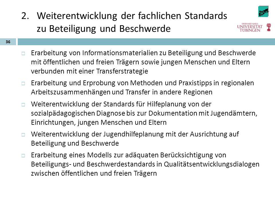 2.Weiterentwicklung der fachlichen Standards zu Beteiligung und Beschwerde  Erarbeitung von Informationsmaterialien zu Beteiligung und Beschwerde mit