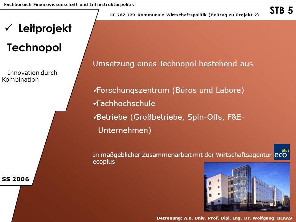 STB 5 Leitprojekt Technopol UE 267.129 Kommunale Wirtschaftspolitik (Beitrag zu Projekt 2) SS 2006 Betreuung: A.o. Univ.-Prof. Dipl.-Ing. Dr. Wolfgang