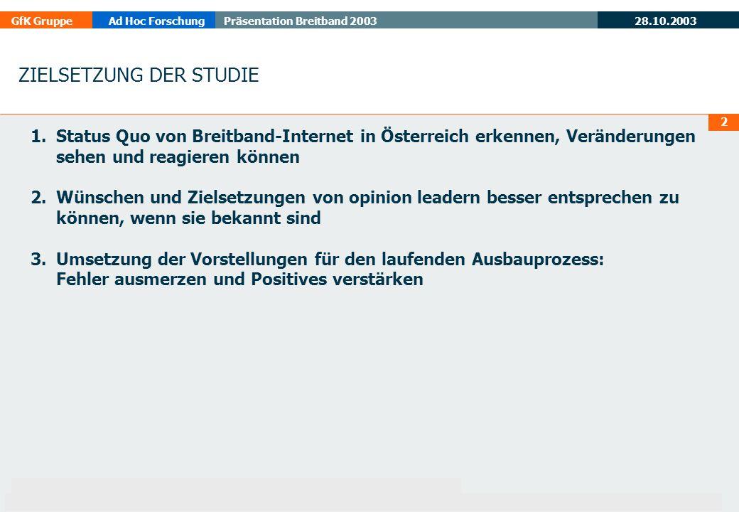 28.10.2003 GfK GruppeAd Hoc ForschungPräsentation Breitband 2003 13 AUSSTATTUNG DER GEMEINDEN MIT HOMEPAGES Basis: alle Befragten 2003 (n=307) 2002 (n=84) BÜRGERMEISTER REGIONALMANAGER schätzen, dass 82 % (2002: 75%) der Gemeinden in der Region mit Homepages ausgestattet sind.