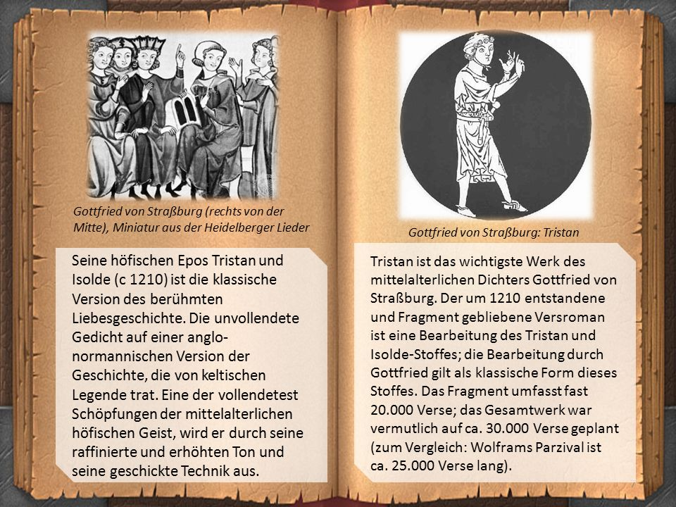 7 Gottfried von Straßburg (rechts von der Mitte), Miniatur aus der Heidelberger Lieder Gottfried von Straßburg: Tristan Seine höfischen Epos Tristan u