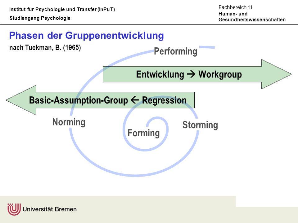 Institut für Psychologie und Transfer (InPuT) Studiengang Psychologie Human- und Gesundheitswissenschaften Fachbereich 11 Forming Storming Norming Per
