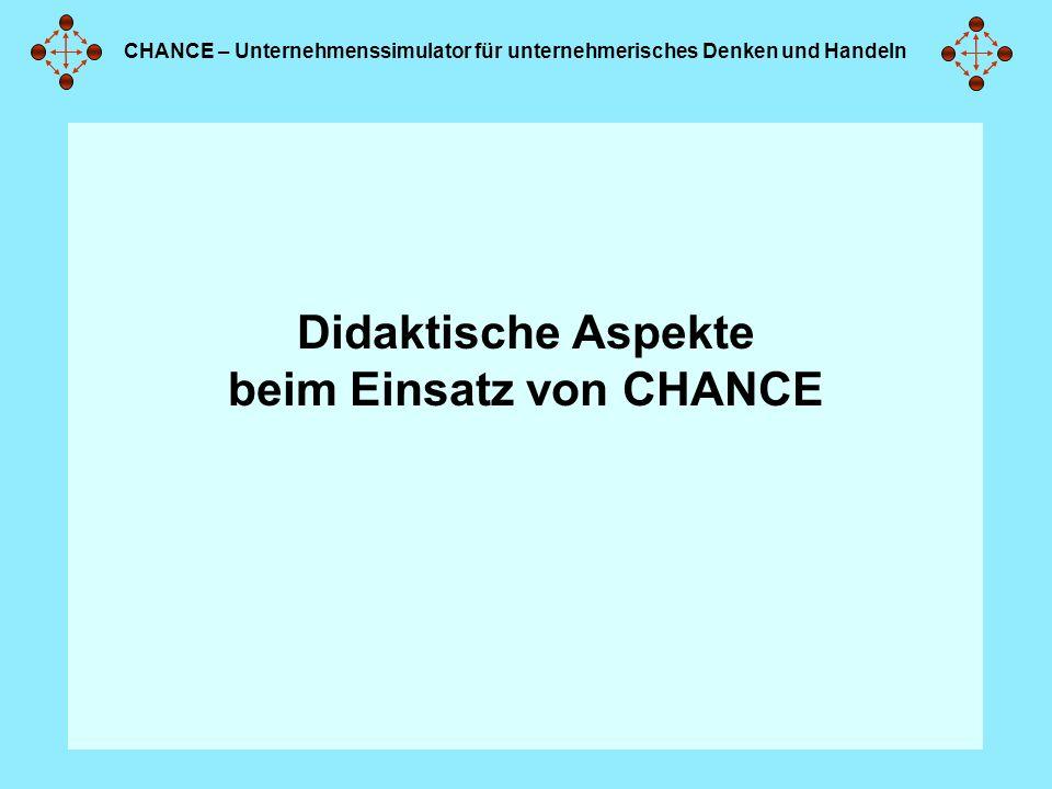 CHANCE – Unternehmenssimulator für unternehmerisches Denken und Handeln Didaktische Aspekte beim Einsatz von CHANCE