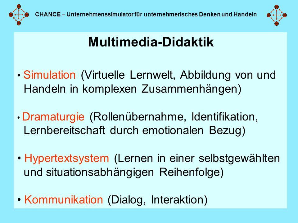 CHANCE – Unternehmenssimulator für unternehmerisches Denken und Handeln Multimedia-Didaktik Simulation (Virtuelle Lernwelt, Abbildung von und Handeln in komplexen Zusammenhängen) Dramaturgie (Rollenübernahme, Identifikation, Lernbereitschaft durch emotionalen Bezug) Hypertextsystem (Lernen in einer selbstgewählten und situationsabhängigen Reihenfolge) Kommunikation (Dialog, Interaktion)