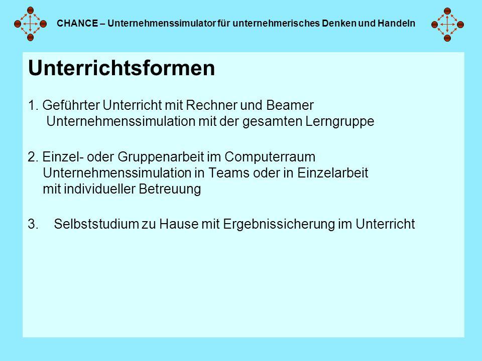 CHANCE – Unternehmenssimulator für unternehmerisches Denken und Handeln Unterrichtsformen 1.