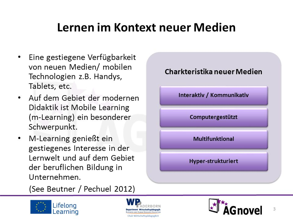 Beispiel eines europäischen Projekts SEEL - Sound in European E-Learning Das europäisch finanzierte Projekt prüft, die Möglichkeiten für die Verwendung von Ton in E-Learning Maßnahmen, als auch die Möglichkeit zur Verbesserung der Lernerfahrung und Unterstützung der Lernenden.