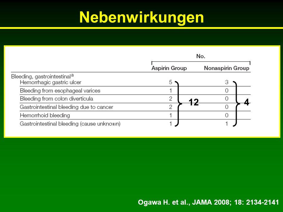 Nebenwirkungen Ogawa H. et al., JAMA 2008; 18: 2134-2141 124