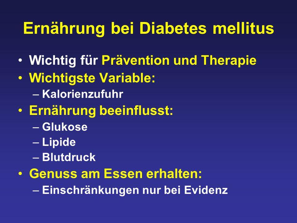 Ernährung bei Diabetes mellitus Wichtig für Prävention und Therapie Wichtigste Variable: –Kalorienzufuhr Ernährung beeinflusst: –Glukose –Lipide –Blutdruck Genuss am Essen erhalten: –Einschränkungen nur bei Evidenz