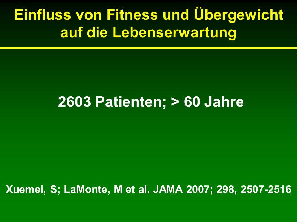 Einfluss von Fitness und Übergewicht auf die Lebenserwartung Xuemei, S; LaMonte, M et al.