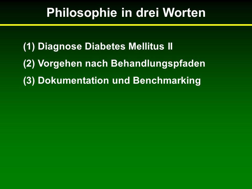 Philosophie in drei Worten (1) Diagnose Diabetes Mellitus II (2) Vorgehen nach Behandlungspfaden (3) Dokumentation und Benchmarking