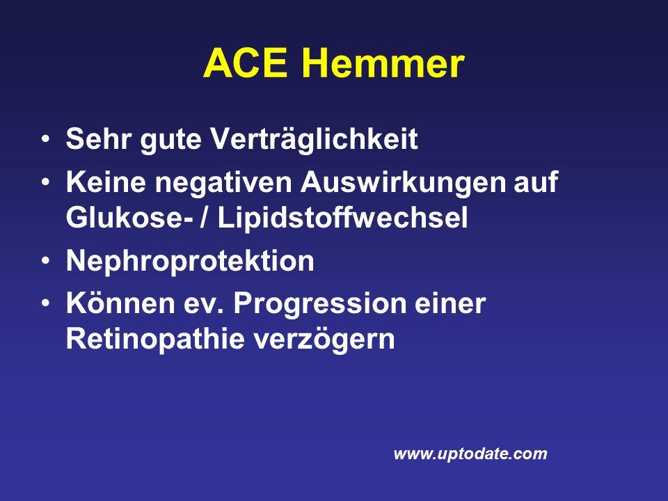 ACE Hemmer Sehr gute Verträglichkeit Keine negativen Auswirkungen auf Glukose- / Lipidstoffwechsel Nephroprotektion Können ev.