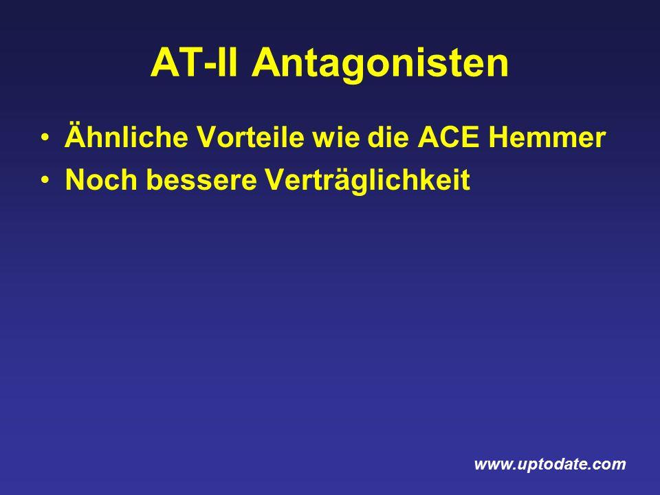 AT-II Antagonisten Ähnliche Vorteile wie die ACE Hemmer Noch bessere Verträglichkeit www.uptodate.com