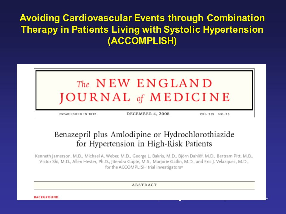 Jamerson K et al., N Engl J Med 2008;359:2417-28. Avoiding Cardiovascular Events through Combination Therapy in Patients Living with Systolic Hyperten