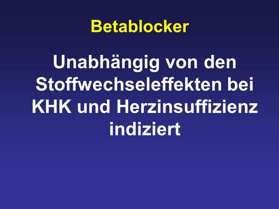 Betablocker Unabhängig von den Stoffwechseleffekten bei KHK und Herzinsuffizienz indiziert