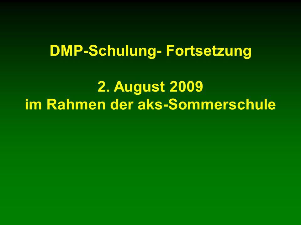 DMP-Schulung- Fortsetzung 2. August 2009 im Rahmen der aks-Sommerschule