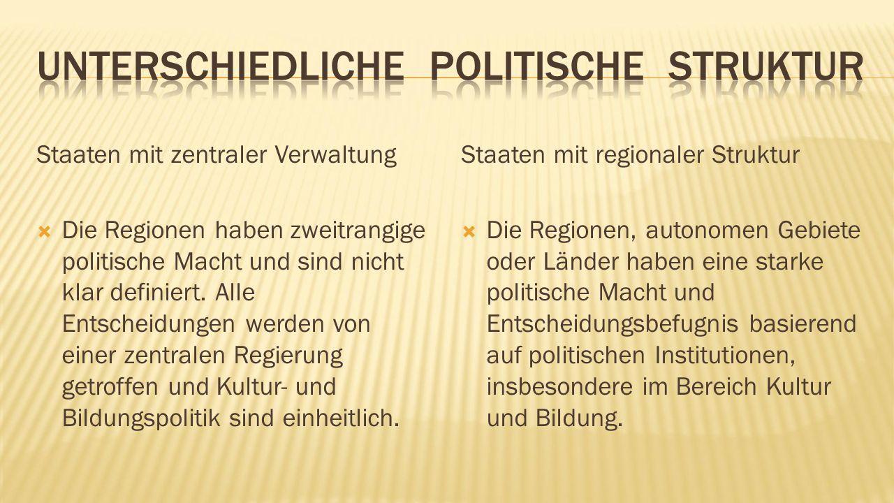 Staaten mit zentraler Verwaltung  Die Regionen haben zweitrangige politische Macht und sind nicht klar definiert.