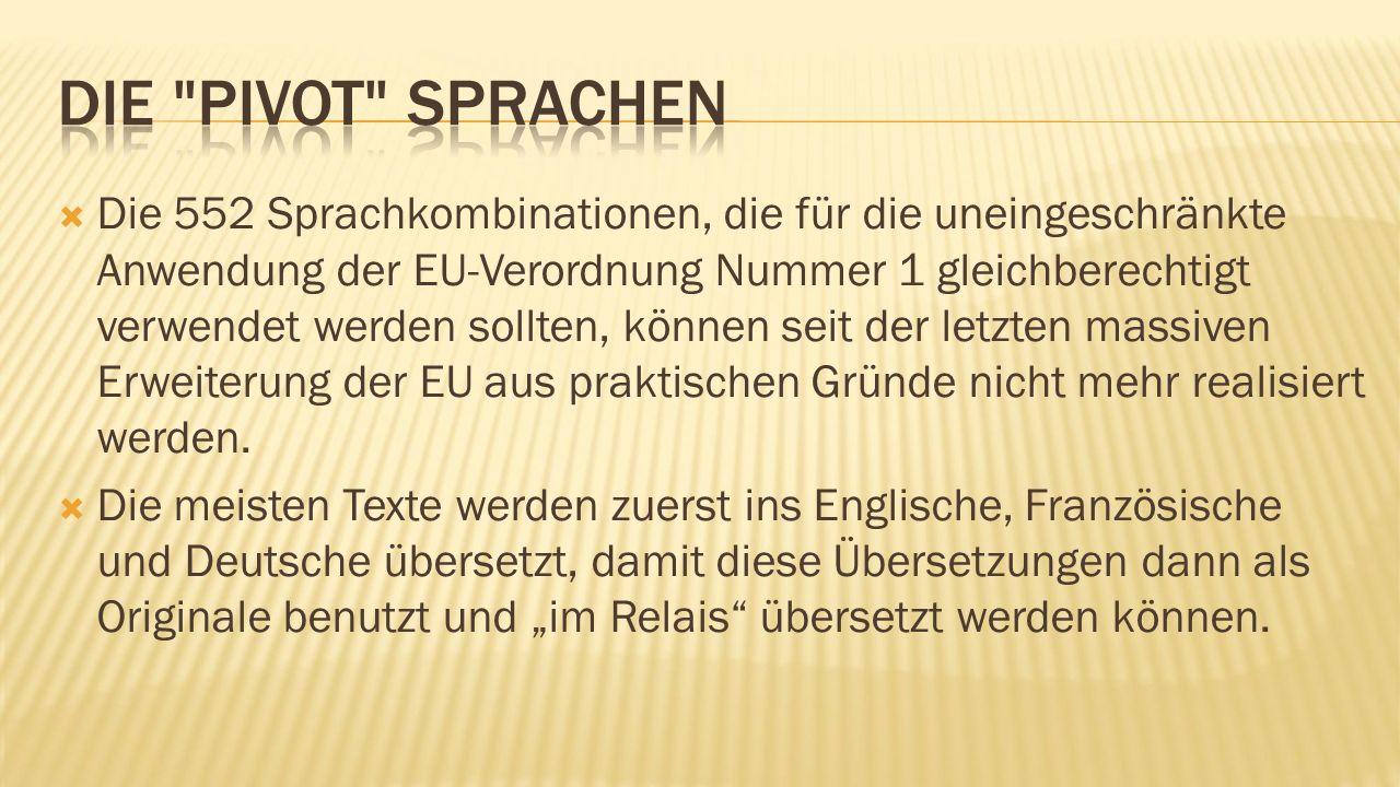  Die 552 Sprachkombinationen, die für die uneingeschränkte Anwendung der EU-Verordnung Nummer 1 gleichberechtigt verwendet werden sollten, können seit der letzten massiven Erweiterung der EU aus praktischen Gründe nicht mehr realisiert werden.